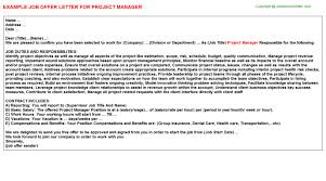 project manager offer letter