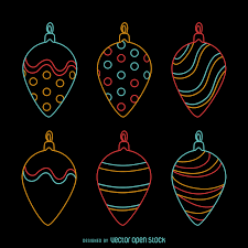 neon ornament decoration set vector