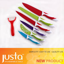 7 pieces bright colors kitchen knife set with non stick coating