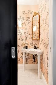 powder room sinks and vanities chinoiserie powder room with corner sink vanity transitional