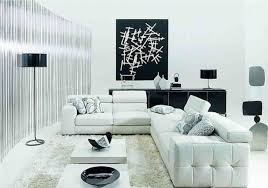 cool white sofas and black cushion it also has black coffee table