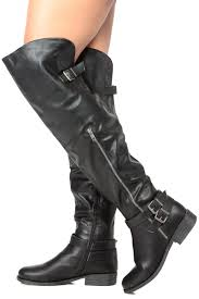 womens leather motorcycle riding boots black faux leather over the knee buckle up riding boots cicihot