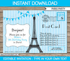blue paris birthday party invitations template postcard
