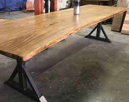 Wood Table With Metal Legs Live Edge Table Etsy