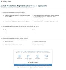 quiz u0026 worksheet signed number order of operations study com