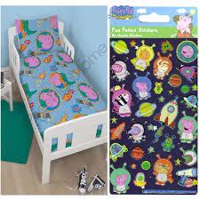 Peppa Pig Bed Set by Disney Junior Toddler Duvet Set Free Stickers Bedding Minnie