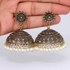 big jhumka gold earrings buy beautiful big jhumka gold tone oxidised handmade jhumka
