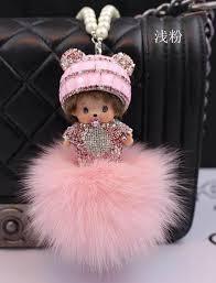 crystal chain rings images Crystal monchichi sleutelhanger monchhichi dolls real fur pom pom jpg