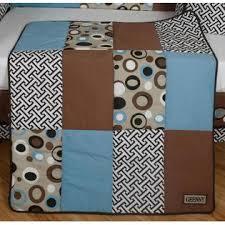 Geenny Crib Bedding Geenny Blue Brown Scribble 13pcs Crib Bedding Set