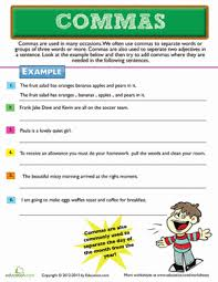 commas and lists worksheet education com