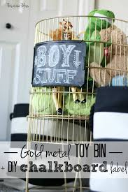 gold metal toy bin chalkboard label basement playroom