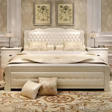 double bed 2018 double bed with new fashion design solid wood from wency999