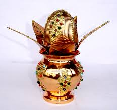 Handicraft For Home Decoration by Pure Copper Decorated Mangal Kalash Set For Your Home Buy Now