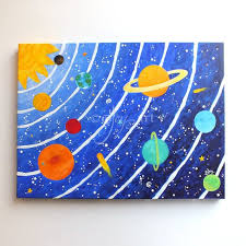 themed paintings custom solar system 16x12 acrylic canvas painting space