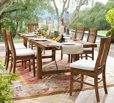 Patio Dining Set With Bench Benchwright Outdoor Dining Chair Pottery Barn