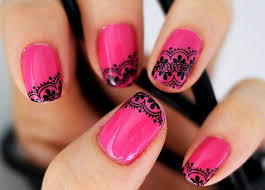 pink nail art for short nails choice image nail art designs