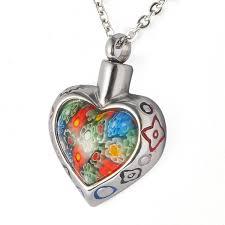 cheap cremation jewelry stainless steel murano glass flower heart waterproof