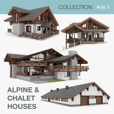chalet houses european chalet houses 4 in 1 collection 3d cgtrader