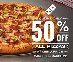 jobs at domino s pizza 50 off online order domino s pizza 50 off 100 in half off all facebook