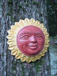 sun face smiling hanging outdoor sun plaque by westwindhomegarden
