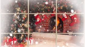 snowy christmas fireplace scene bestwallsite com