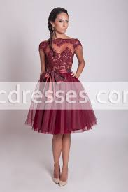 50s style lace prom dress burgundy lace dress tulle bridesmaid