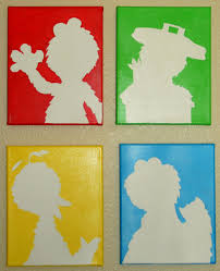 Artwork For Kids Room by Sesame Street Handpainted Silhouettes By Paintedsilhouettes
