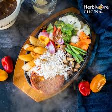 herbivore cucina vegetable and patty sizzler
