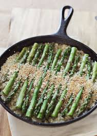 baked asparagus risotto www abeautifulmess green food