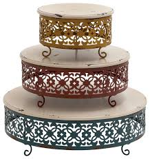 metal cake stand simply unique wood metal cake stand set of 3 transitional