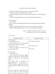 Mitosis Worksheets Lesson Plan In Biology Ii Doc Mitosis Meiosis