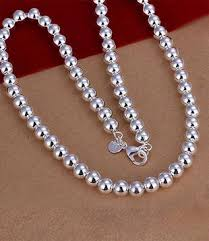 large silver bead necklace images 925 sterling silver plated french rope chain necklace db variety jpg