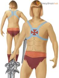 2nd skin halloween costumes he man adam second skin superhero 80s mens halloween fancy dress