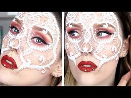 lace skull mask makeup tutorial youtube