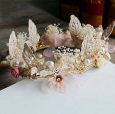 wedding accessories sweet preserved fresh flower bridal crown with shell and pearl