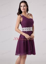 dark purple one shoulder 2013 prom dress with sash and ruch