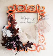 double sided frame turned wreath for fall and halloween