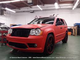 bmw jeep red jeep grand cherokee srt8 wrapped in matte red 3m by dbx diamond