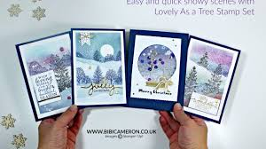 snowy scenes for christmas cards lovely as a tree stampin up