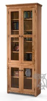 Wooden Bookcase With Glass Doors Oak Bookcases With Doors Foter