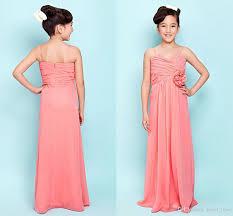 2015 coral junior bridesmaid dresses spaghetti pleats chiffon long