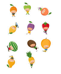 fruit kids vector pack vector characters vectorvice 11 eps files