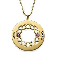 Couple Name Necklace Design 18k Gold Silver Engraved Couple Name Circle Birthstone