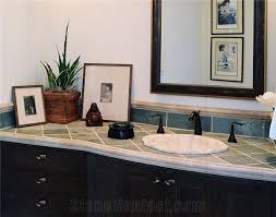 Tile Vanity Top Slate Tile Vanity Top With Coral Stone Edge Riven Green Slate