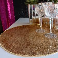 placemats for round table 16 gold sequin round table placemat on sale now from