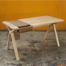 bolsa design wooden work desk with built in storage saddlebag in