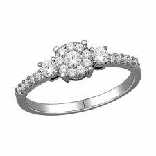 dainty engagement rings 1 2 ct t w diamond dainty three engagement ring in 10k