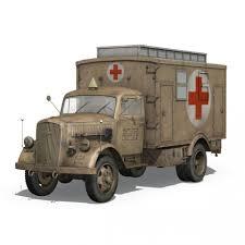 opel blitz ww2 opel blitz 3t ambulance truck 2 pzdiv 3d model cgstudio
