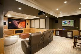 corner bar space finished basement theater room cushion in the