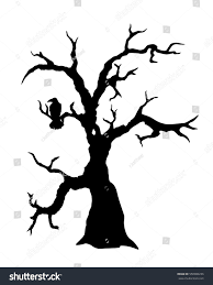 black vector silhouette spooky tree raven stock vector 558980236